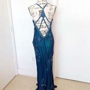 NWT Scala Beaded Open Back evening Gown
